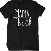 Women Mama Bear Graphic t shirt Family Love Matching Bear Mothers Day Tee