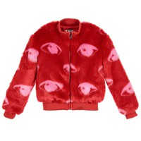 Girls Red Faux Fur Jacket (Mini-Me)
