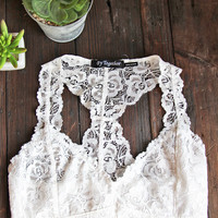 Neutral Racerback Lace Bralette in White