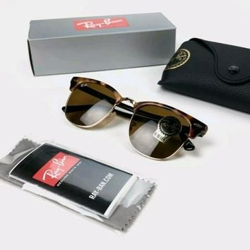 RAY-BAN Mens Boxed Designer Sunglasses Brown Clubmaster ORB 3016 WO365