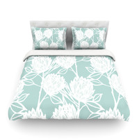 "Gill Eggleston ""Protea Jade White"" King Cotton Duvet Cover - Outlet Item"