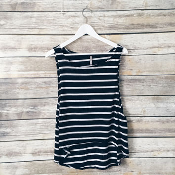 Suzy Striped Muscle Tank (Black)