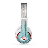 The Trendy Teal to White Aged Wood Planks Skin for the Beats by Dre Studio (2013+ Version) Headphones