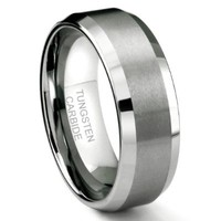 8MM Tungsten Metal Men's Wedding Band Ring in Comfort Fit and Matte Finish Sz 16.0