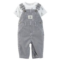 Carter's Anchor Tee & Striped Shortalls Set - Baby