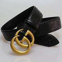 G Men Woman Fashion Smooth Buckle Leather Belt