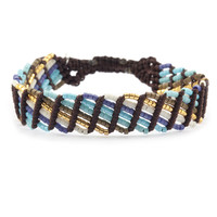 Turquoise Mix Single Bracelet on Brown Cord