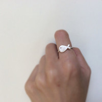 Sterling silver fish ring, summer ring, simple ring
