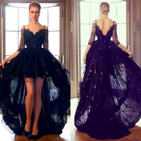 New A-Line Tulle V-Neck Three Quarter Cocktail Dresses Spaghetti Strap Appliques Beads Lace Formal Dress Party Ball Gowns