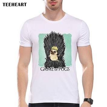 Pug On The Iron Throne T-shirt Men Game of Thrones  Short Sleeve Tee Tops