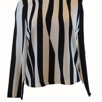 A.L.C Black and White Striped Blouse