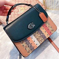 COACH Fashion New Pattern Leather Shopping Leisure Shoulder Bag Crossbody Bag Handbag Black