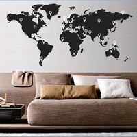 World Map With Pointers Wall Stickers