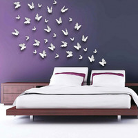 3D DIY Wall Stickers Butterfly Mirror Surface Home Decor Room Decorations Large Silver - Default