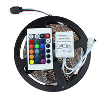 3528 SMD No-Waterproof RGB LED Strip Light DC 12V 5 meters 60led/m LED Flexible Light Strip with remote controller free shipping