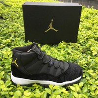 Nike Air Jordan Retro 11 Barons Black and white gold Best Quality Men Size Basketball Shoes With Box