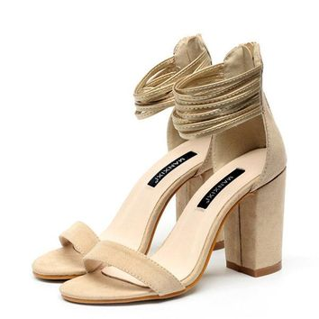 Suede Peep Toe Chunky High Heel Strappy Pumps