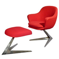 Armchair and ottoman, space age, c.1970, France