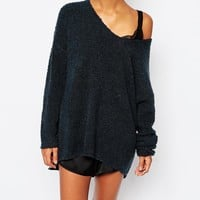 Micha Boucle Oversized Boyfriend Jumper at asos.com