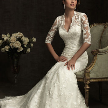 Ivory Lace Sweetheart Illusion 3/4 Sleeves Wedding Gown - Unique Vintage - Cocktail, Evening, Pinup Dresses