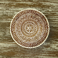Flower and Border Stamp, Indian Printing Block, Hand Carved Wood Stamp, Large Round Wooden Circle Stamp for Textiles Pottery, India Decor