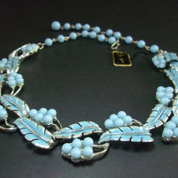 Baby Blue Enamel CORO Necklace, Leaves & Berrries, PEGASUS Vintage w/Tag