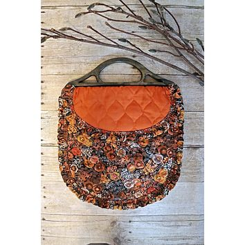 Vintage Wildflower  Quilted Ruffle Bag
