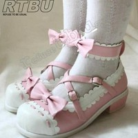 """Handmade Two Color Sweet Lolita Scallope Mary Janes Dolly Heel 1"""" Heel Shoes"""