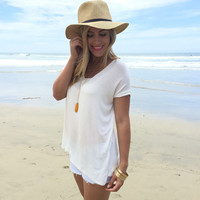Jersey V-Neck Top In Ivory