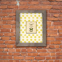 Beautiful butterflies with yellow flower background and reclaimed wood frame.