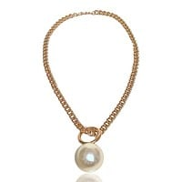 Jumbo Faux Pearl Short Chain Necklace