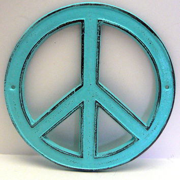 Peace Sign Aqua Light Turquoise Cast Iron Circle Wall Decor Rustic Retro Funky 70's Style Shabby Chic Distressed Weathered Wall Art Sign