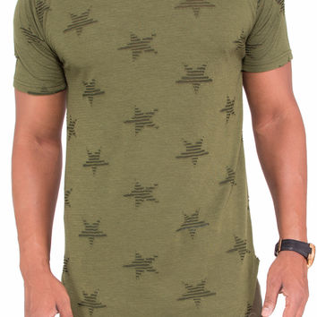 """""""Ripped Stars"""" Distressed Long Length Extended Tee (Olive)"""
