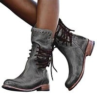 Women Leather Mid Calf Boots Lace-up Zipper Thick Heel Boots Rivet Short Tube Women Shoes Fashion Female Martin Boots