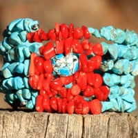 Turquoise Magnesite and Red Coral Boho Spiral Wrap Bracelet
