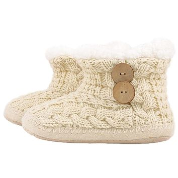 Cable Knit Faux Shearling Lined Bootie Slippers