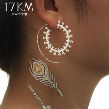 17KM New Bohemia Swirl Hoop Earring For Women Fashion Earrings Female Gold Color Party Jewelry Accessories Gift Drop shipping