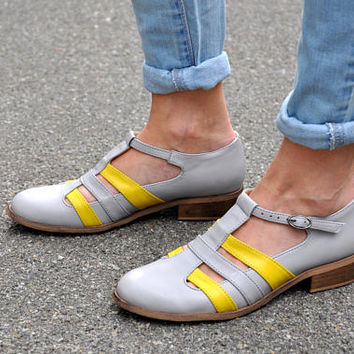 Mary - Women's Mary Janes, Leather Mary Janes, Vintage Shoes, Gray Yellow Jane Shoes, Summer shoes, Custom Shoes, FREE customization!!!