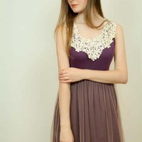 Purple Day Dress - Floral Lace Front Ballerina Mesh | UsTrendy