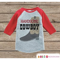 Humorous Boy's Outfit - Red Raglan Shirt - Cowboy Funny Baby Boy's Onepiece or Tshirt - Novelty Raglan Tee for Baby Boys, Toddler, Infant