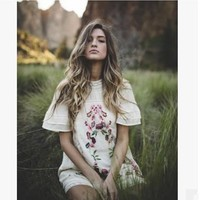 free people fashion retro lace stitching floral embroidery short sleeve mini dress
