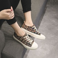 Fashion Casual Retro Weave Multicolor Stripe Worsted Plate Shoes Women Flats Shoes