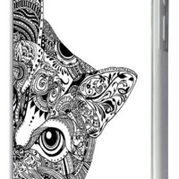 Iphone 5C Aztec Ornate Cute Cat Face Funky Design Fashion Trend Case Back Cover Metal and Hard Plastic Case-Clear Frame