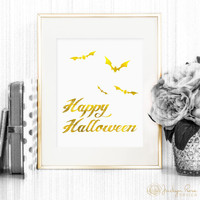 Halloween decor, Halloween printable, Happy Halloween bats wall art, faux gold foil decor 8 x 10 (Printable - Instant digital download- JPG)