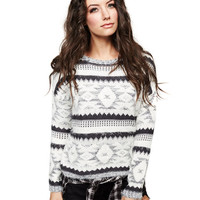 Eyelash-Knit Fair Isle Sweater | Wet Seal
