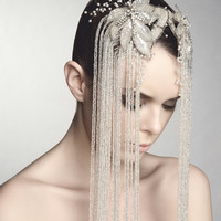 White Beaded Bridal Combs, Grand Couture Statement Hair Accessories, Vintage glass beaded strands, OOAK