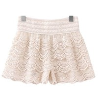 Ninimour- Women's Crochet Tiered Lace Layers Under Safety Short Pant