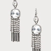bebe Womens Crystal Fringe Earrings Gunmetal W Crystal
