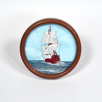 Embroidered Ship - tiny framed ship embroidery, vintage nautical decor, boat textile art, pirate ship, galleon, sea {blue red white rust}
