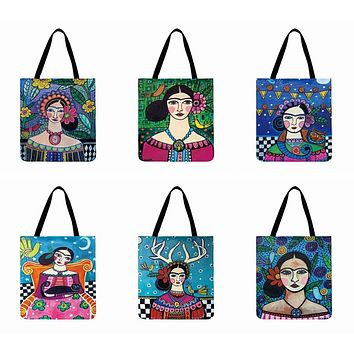 Frida Kahlo Printing Tote Bag Casual Totes Linen Fabric Bag Foldable Shopping Bag Outdoor Beach Bag Daily Hand Bag